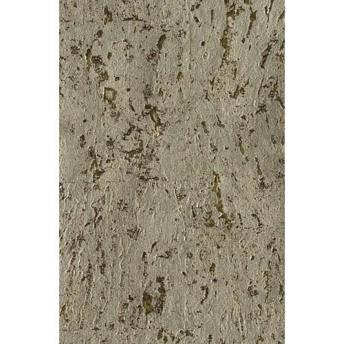Ronald Redding Designer Resource Gold and Black Grasscloth Cork Wallpaper: Sample Swatch Only