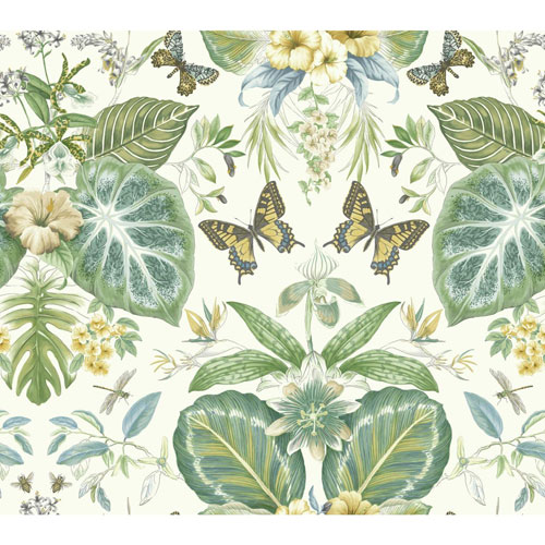 York Wallcoverings Outdoors In Tropical Butterflies Beige and Blue Wallpaper - SAMPLE SWATCH ONLY