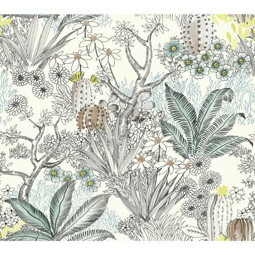 Outdoors In Flowering Desert Black Wallpaper - SAMPLE SWATCH ONLY