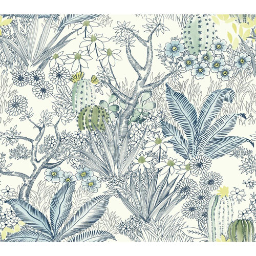 York Wallcoverings Outdoors In Flowering Desert Blue Wallpaper - SAMPLE SWATCH ONLY