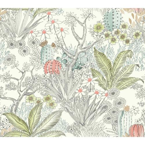 York Wallcoverings Outdoors In Flowering Desert Grey Wallpaper - SAMPLE SWATCH ONLY