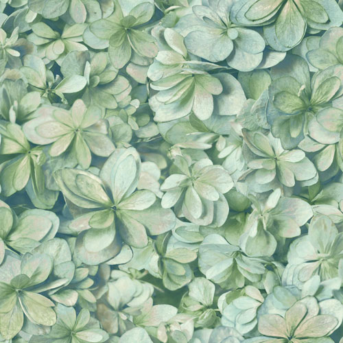 York Wallcoverings Outdoors In Hydrangea Bloom Green and Sky Wallpaper - SAMPLE SWATCH ONLY