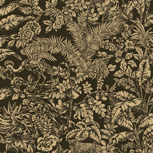 York Wallcoverings Outdoors In Botanical Sanctuary Black Wallpaper