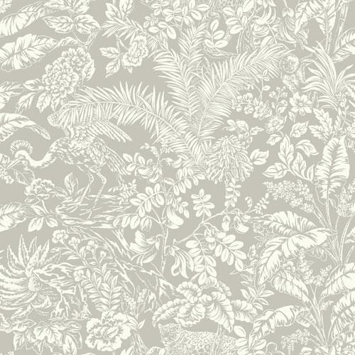 York Wallcoverings Outdoors In Botanical Sanctuary Grey Wallpaper