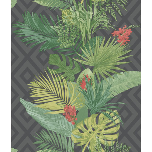 York Wallcoverings Outdoors In Tropical Oasis Stripe Black Wallpaper