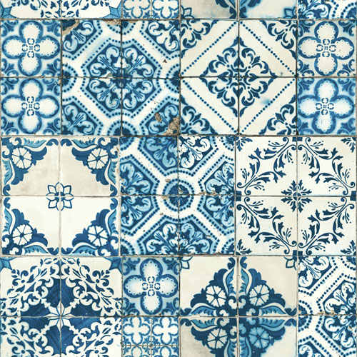 York Wallcoverings Outdoors In Mediterranean Tile Blue Wallpaper