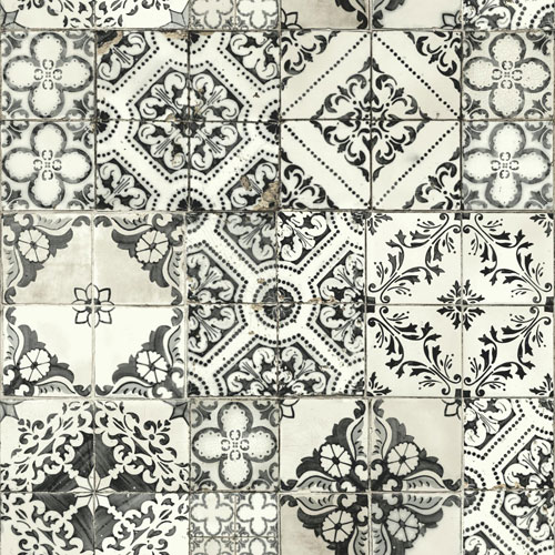 York Wallcoverings Outdoors In Mediterranean Tile Black Wallpaper - SAMPLE SWATCH ONLY