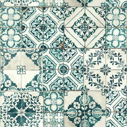 York Wallcoverings Outdoors In Mediterranean Tile Teal Wallpaper - SAMPLE SWATCH ONLY