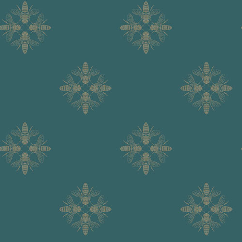Outdoors In Honey Bee Gold and Teal Wallpaper