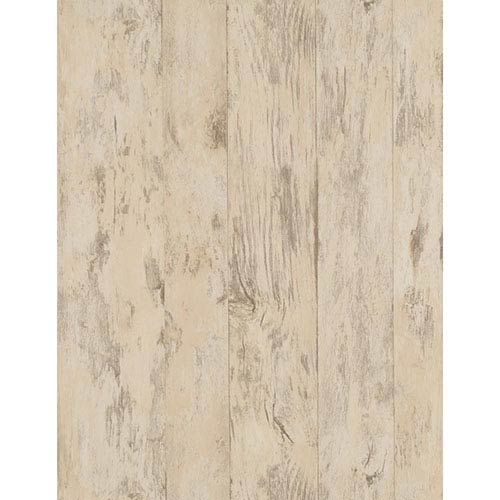 York Wallcoverings Weathered Finishes Beige and Cocoa Wood Wallpaper: Sample Swatch Only