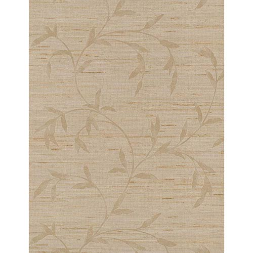 York Wallcoverings Weathered Finishes Silvery Grey, Beige and Tan Vine Scroll Wallpaper: Sample Swatch Only