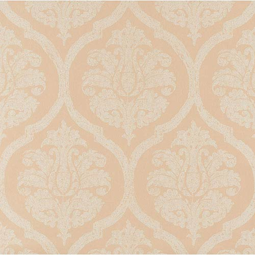 York Wallcoverings Weathered Finishes White and Grey Leather Damask Wallpaper: Sample Swatch Only