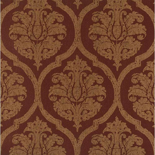 York Wallcoverings Weathered Finishes Rich Mocha Leather Damask Wallpaper: Sample Swatch Only