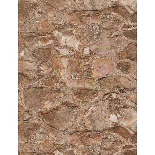 York Wallcoverings Weathered Finishes Terra Cotta and Pale Grey Field Stone Wallpaper
