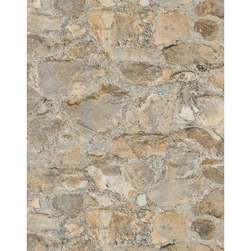 York Wallcoverings Weathered Finishes Oyster Shell Grey Field Stone Wallpaper: Sample Swatch Only