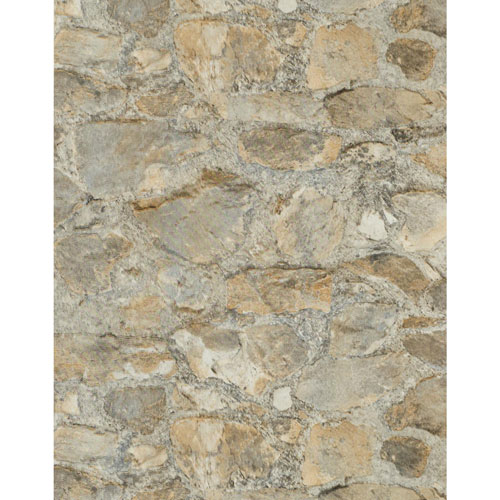 York Wallcoverings Outdoors in Field Stone Tumbled Tan and Grey Grasscloth
