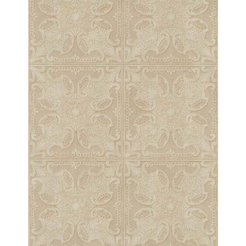 York Wallcoverings Weathered Finishes Taupe and Tobacco Brown Tin Tile Wallpaper