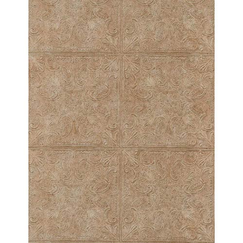 York Wallcoverings Weathered Finishes Cork Brown Tin Tile Wallpaper