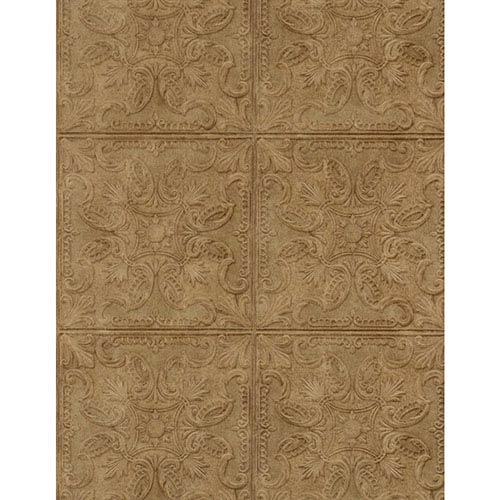 York Wallcoverings Weathered Finishes Dark Chocolate Tin Tile Wallpaper: Sample Swatch Only