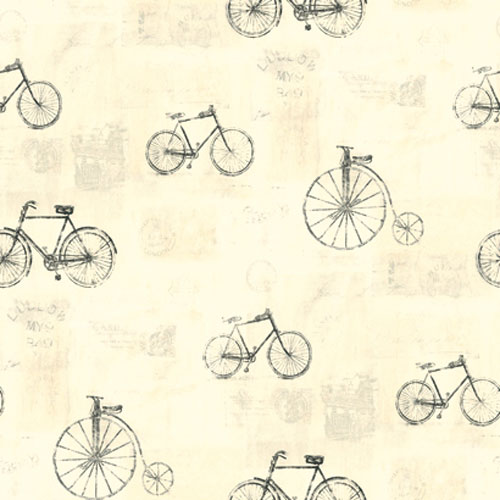 Europa II Bicycle Postmark toile Prepasted Wallpaper: Sample Swatch Only