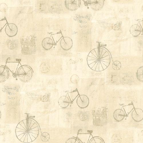 Europa II Bicycle Postmark toile Prepasted Wallpaper: Sample Swatch Only