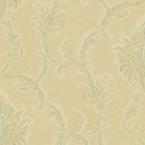 York Wallcoverings American Legacy Deep Bisque and Sage Green and Ivory Verdigris Damask Wallpaper: Sample Swatch Only