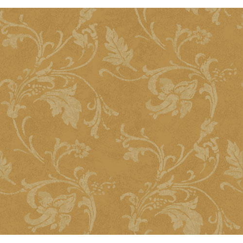York Wallcoverings American Legacy Bronzed Gold and Matte Deep Cream Textured Scroll Wallpaper: Sample Swatch Only