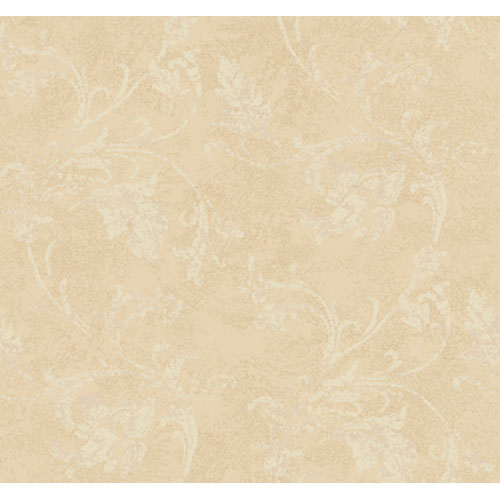 York Wallcoverings American Legacy Blush Beige and Pearled Putty Textured Scroll Wallpaper: Sample Swatch Only