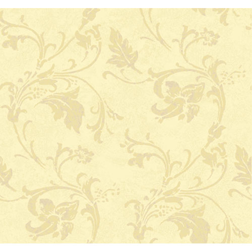 York Wallcoverings American Legacy Light Cream and Deep Cream and Hint of Amethyst Textured Scroll Wallpaper: Sample Swatch