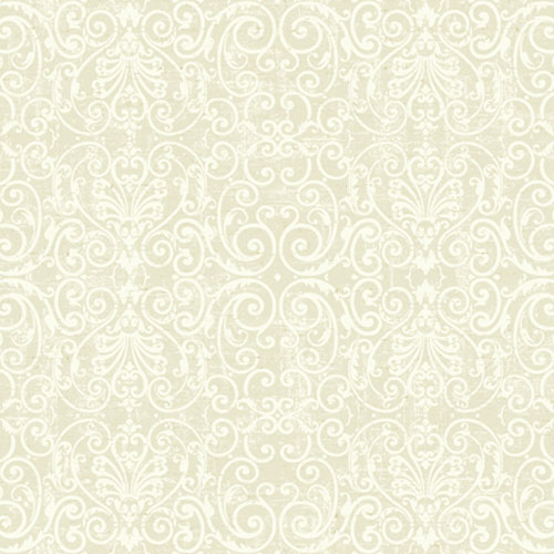 Proper English Muslin and Ivory Tuscan Fine Scroll Wallpaper: Sample Swatch Only