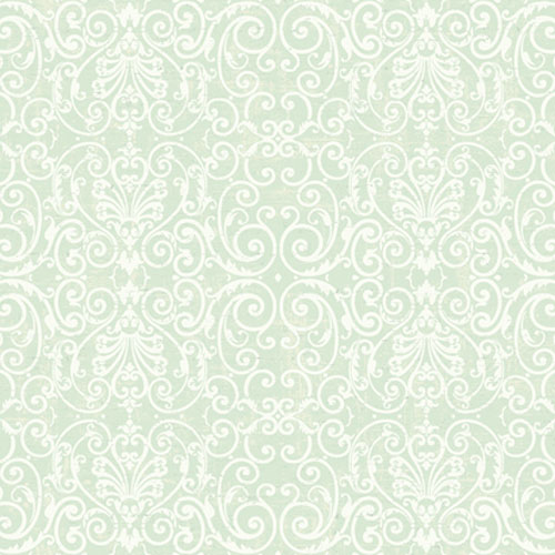 Proper English Mint and Ivory Tuscan Fine Scroll Wallpaper: Sample Swatch Only