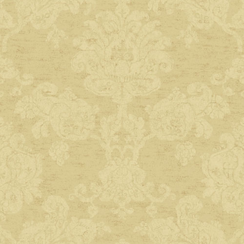 Proper English Butternut and Ash Hand Block Damask Wallpaper: Sample Swatch Only