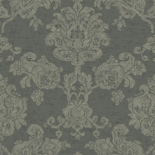 Proper English Mocha and Sand Hand Block Damask Wallpaper: Sample Swatch Only