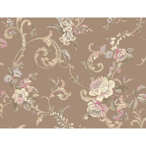 York Wallcoverings Hyde Park Bronze, Cream, Lilac, Pink, Brown and Moss Green Wallpaper: Sample Swatch Only