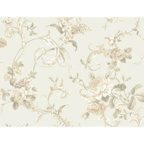 York Wallcoverings Hyde Park Pale Gray, White, Apricot, Tan and Dusty Green Floral Scroll Wallpaper: Sample Swatch Only