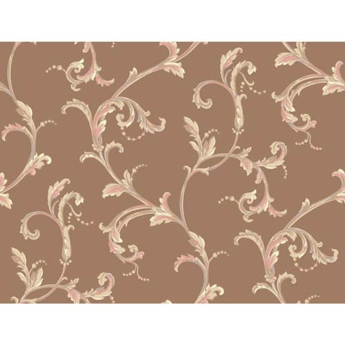 York Wallcoverings Hyde Park Bronze, Beige, Tan, Pink and Lilac Wallpaper: Sample Swatch Only