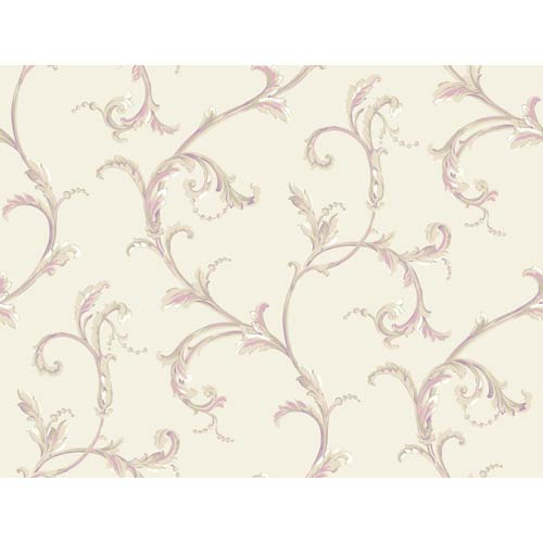York Wallcoverings Hyde Park Warm White, Pink and Plum Wallpaper: Sample Swatch Only