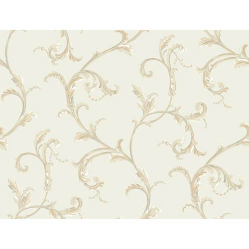 York Wallcoverings Hyde Park Pale Gray, White, Apricot, Tan and Dusty Green Wallpaper: Sample Swatch Only
