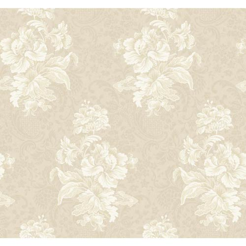 York Wallcoverings Hyde Park Ecru, Khaki and Lily White Wallpaper: Sample Swatch Only