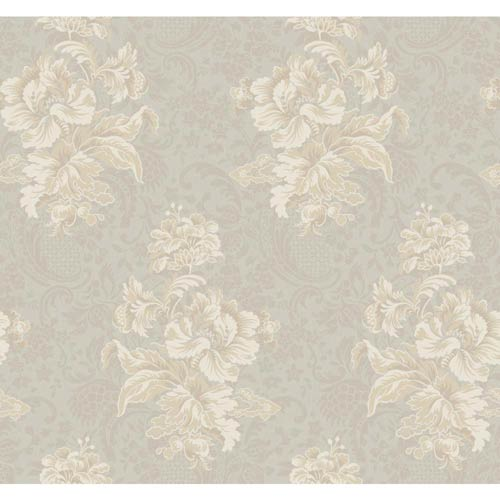York Wallcoverings Hyde Park Silver Sheen, Warm Gray, Beige and Cream Wallpaper: Sample Swatch Only