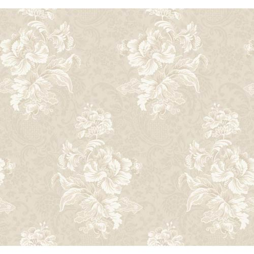 York Wallcoverings Hyde Park Gray-Beige, Pale Taupe and Lily White Wallpaper: Sample Swatch Only