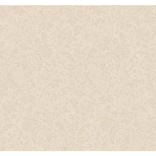 York Wallcoverings Hyde Park Ecru, Khaki and Lily White Damask Coordinate Wallpaper: Sample Swatch Only