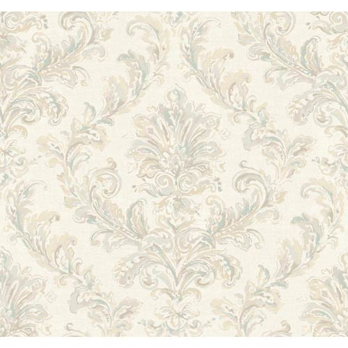 York Wallcoverings Hyde Park Dove Gray, Heavy Cream, Aquamarine and Sand Wallpaper: Sample Swatch Only