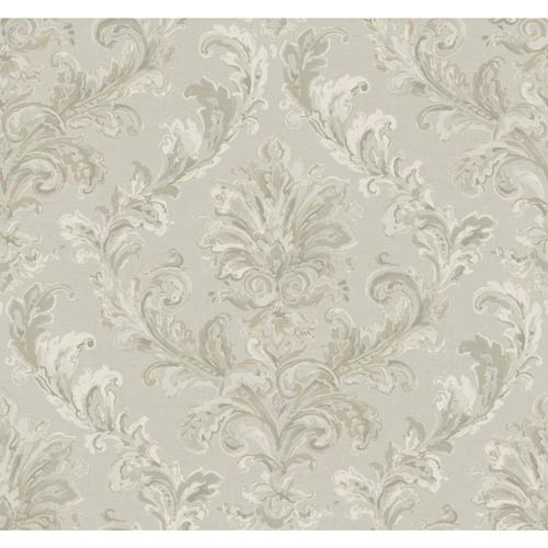 York Wallcoverings Hyde Park Silver Sheen, Cream, Pewter and Taupe Wallpaper: Sample Swatch Only