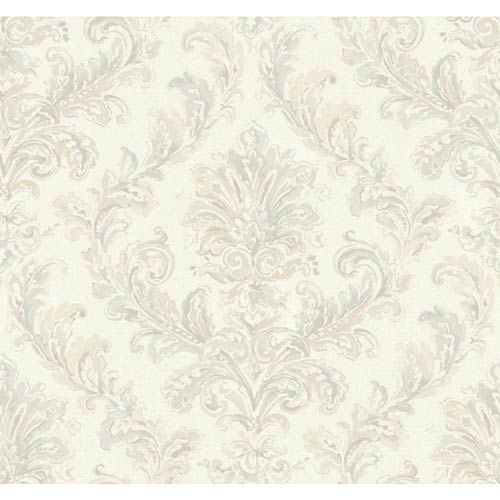 York Wallcoverings Hyde Park Taupe, Teal, Eggshell and Buff Wallpaper: Sample Swatch Only