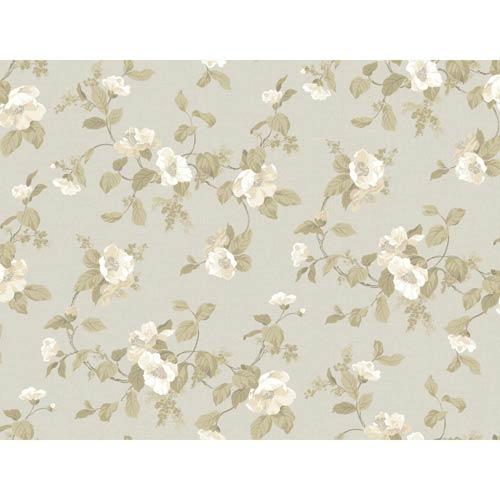 York Wallcoverings Hyde Park Silver, Chalk White, Ecru, Graphite Gray and Khaki Wallpaper: Sample Swatch Only