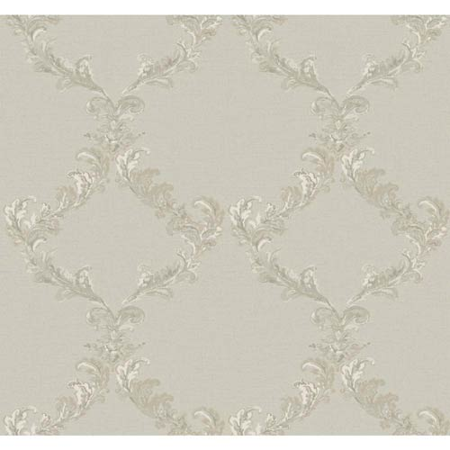 York Wallcoverings Hyde Park Silver Sheen, Cream, Pewter and Taupe Painterly Damask Frame Wallpaper: Sample Swatch Only
