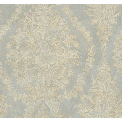 Ronald Redding 18 Karat II Metallic Silver and Cream Charleston Wallpaper