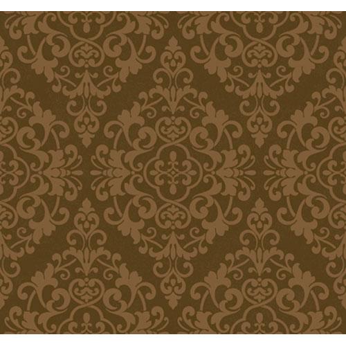 Regents Glen Milk Chocolate Brown and Bronze Damask Spot Wallpaper: Sample Swatch Only