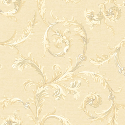Regents Glen Shimmering Champagne and Neutrals Rococo Scroll Wallpaper: Sample Swatch Only